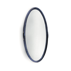 wall-mounted mirror / contemporary / oval / leather