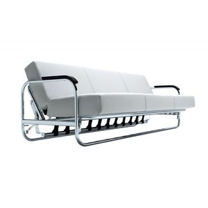 sofa bed / contemporary / leather / solid wood