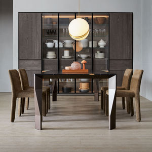contemporary dining table / wooden / glass / aluminum