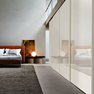 wall-mounted wardrobe / contemporary / wooden / sliding door