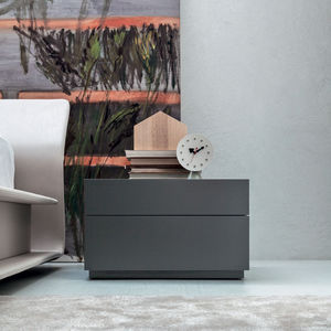 contemporary chest of drawers / wooden / metal / glass
