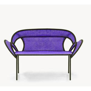 original design upholstered bench / steel / polyethylene / with backrest