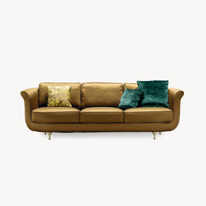 traditional sofa / fabric / leather / 2-person