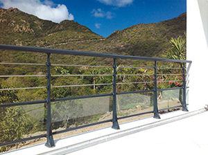 stainless steel railing / aluminum / with panels / with bars