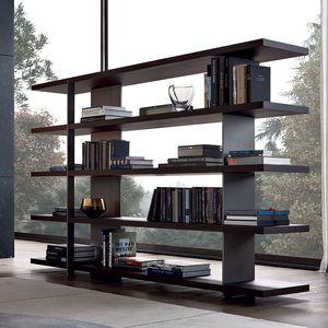 contemporary bookcase / wood veneer / painted aluminum / by Jean-Marie Massaud