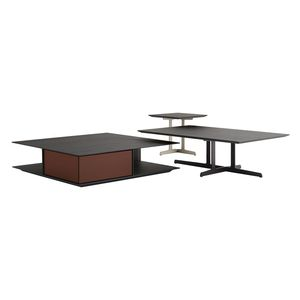 contemporary coffee table / elm / metal base / rectangular