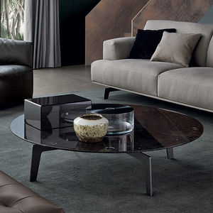 contemporary coffee table / wood / marble / sheet metal base