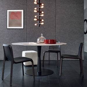 contemporary dining table / lacquered MDF / aluminium / marble