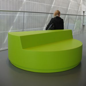 contemporary upholstered bench / fabric / leather / for public buildings