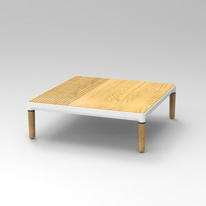 contemporary coffee table / oak / oak base / square