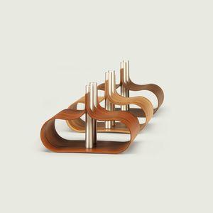 original design vase / wood veneer / aluminum