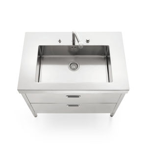 stainless steel kitchen sink cabinet / for gardens
