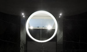 wall-mounted mirror / contemporary / round / natural stone