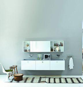 double washbasin cabinet / wall-hung / oak / laminate