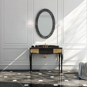 free-standing washbasin cabinet / marble / traditional / with mirror