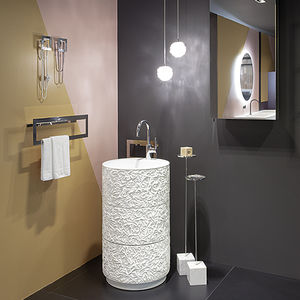 free-standing washbasin / round / wooden / contemporary