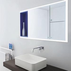 wall-mounted bathroom mirror / with shelf / contemporary / rectangular
