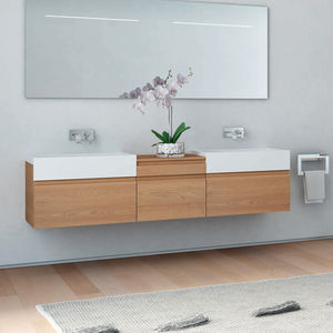 double washbasin cabinet / wall-hung / Solid Surface / HPL