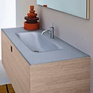 built-in washbasin / rectangular / Solid Surface / contemporary