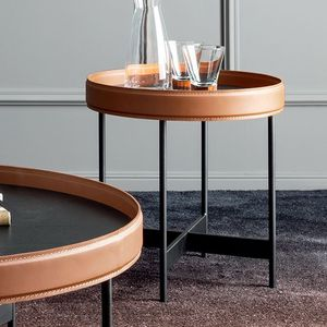 contemporary side table / stained wood / metal / leather