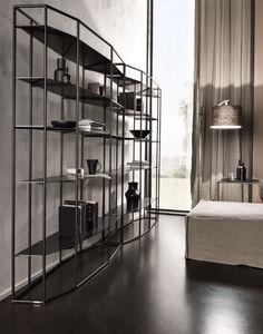 contemporary shelf / brass / iron / glass