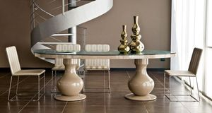 New Baroque design dining table / crystal / oval