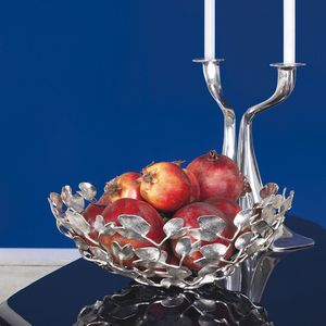 brass fruit basket / silver-plated / for domestic use