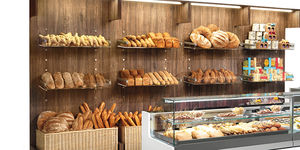 wall-mounted display rack / baked goods / wooden / panel