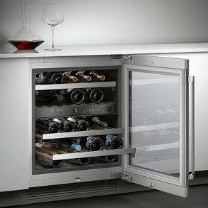 built-in wine cabinet / undercounter / aluminum / glass