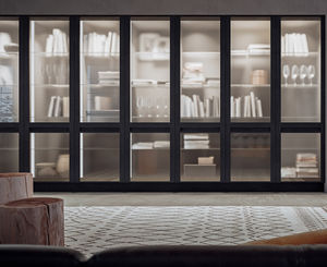 high bookcase / contemporary / oak / glass-front