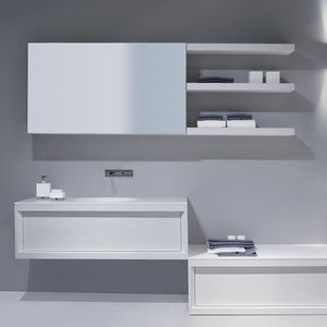 wall-mounted shelf / contemporary / lacquered wood / bathroom