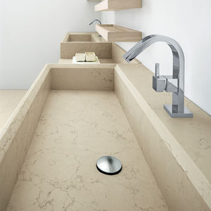 double washbasin / countertop / rectangular / Solid Surface