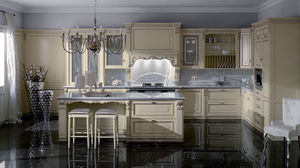 classic kitchen / lacquered wood / painted wood / island