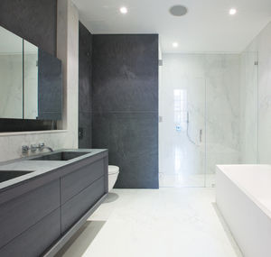 contemporary bathroom / ash / marble / lacquered
