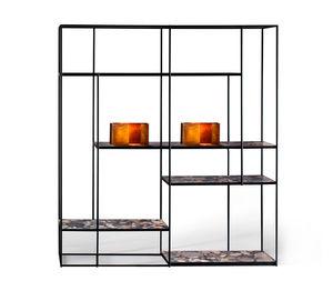 modular shelf / contemporary / walnut / metal