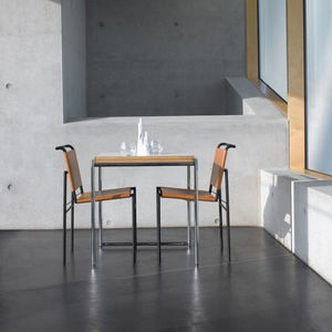 contemporary dining table / beech / metal / melamine