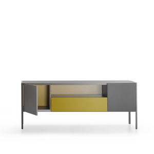 contemporary sideboard / glass / aluminum / sheet metal