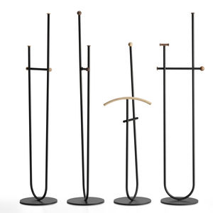 floor coat rack / minimalist design / metal / wooden