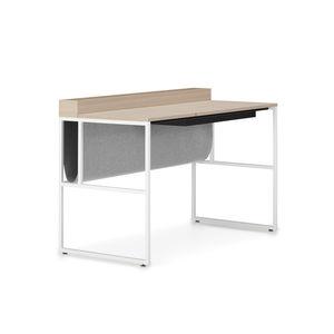 oak desk / steel / contemporary / with storage