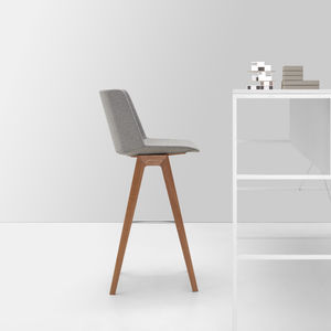 contemporary bar chair / sled base / stackable / wooden