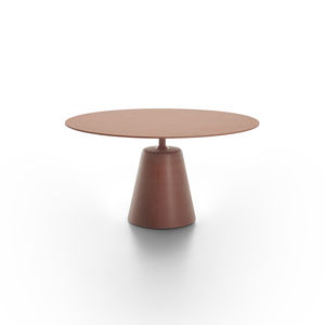 contemporary dining table / oak / MDF / smoked glass