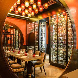 hotel wine cabinet / wooden / custom / integrated lighting
