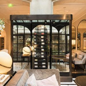 hotel wine cabinet / glass / custom / integrated lighting