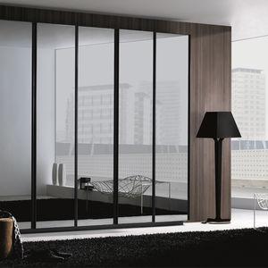 contemporary wardrobe / wooden / glass / steel