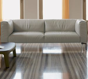 contemporary sofa / leather / wooden / steel