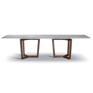 contemporary dining table / wooden / marble / wooden base