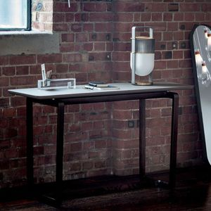 contemporary table / wooden / marble / wooden base