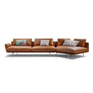 corner sofa / contemporary / fabric / leather