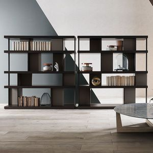 high bookcase / low / contemporary / MDF