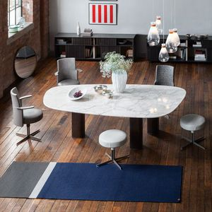 contemporary table / wooden / steel / marble